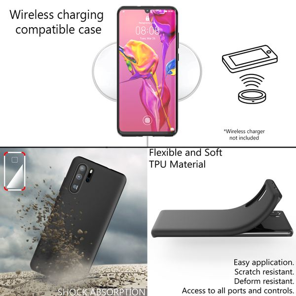 NALIA Hülle kompatibel mit Huawei P30 Pro, Ultra-Slim Handyhülle Silikon Phone Case Cover, Dünne matte Schutzhülle, Etui Handy-Tasche Backcover Bumper, Soft TPU Smartphone Skin Gummihülle - Schwarz – Bild 5