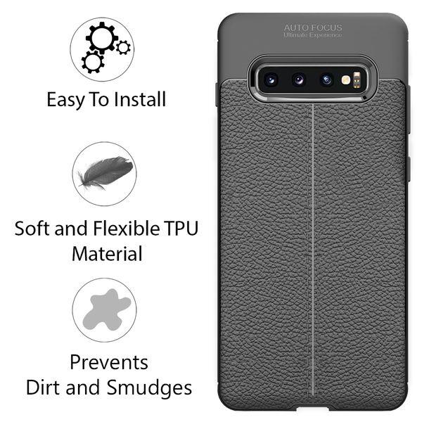 NALIA Leder-Look Hülle kompatibel mit Samsung Galaxy S10, Ultra-Slim Silikon Case Cover Dünn Phone Handyhülle Schutzhülle, Etui Handy-Tasche Backcover Bumper, TPU Gummihülle - Schwarz – Bild 2