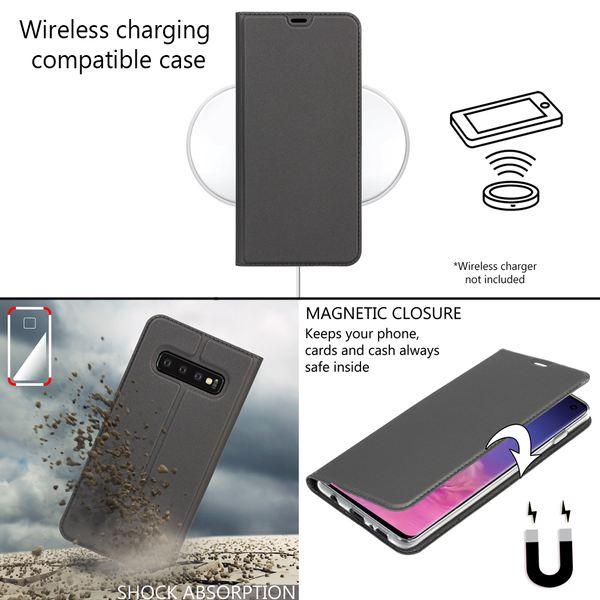 NALIA Hülle kompatibel mit Samsung Galaxy S10, Slim Kickstand Handyhülle Flip-Case Kunstleder Book-Cover mit Magnet, Etui Ganzkörper Schutzhülle Dünne Rundum Handy-Tasche Bumper - Schwarz Grau – Bild 5