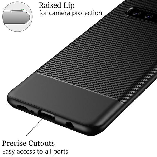 NALIA Handyhülle kompatibel mit Samsung Galaxy S10, Slim Hülle Silikon Case Cover, Dünne Carbon Look Premium Schutz-Hülle, Etui Handy-Tasche Back-Cover Bumper, TPU Gummihülle - Schwarz – Bild 4