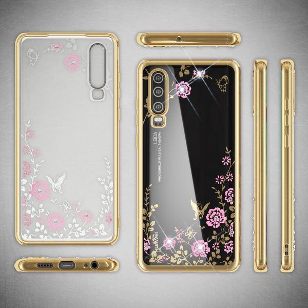 NALIA Hülle kompatibel mit Huawei P30, Durchsichtige Handyhülle Blumen-Muster Metall-Optik Glitzer-Steine, Ultra-Slim Silikon Case Dünne Schutzhülle Smart-Phone Bling Cover Etui Handy-Tasche - Gold – Bild 6