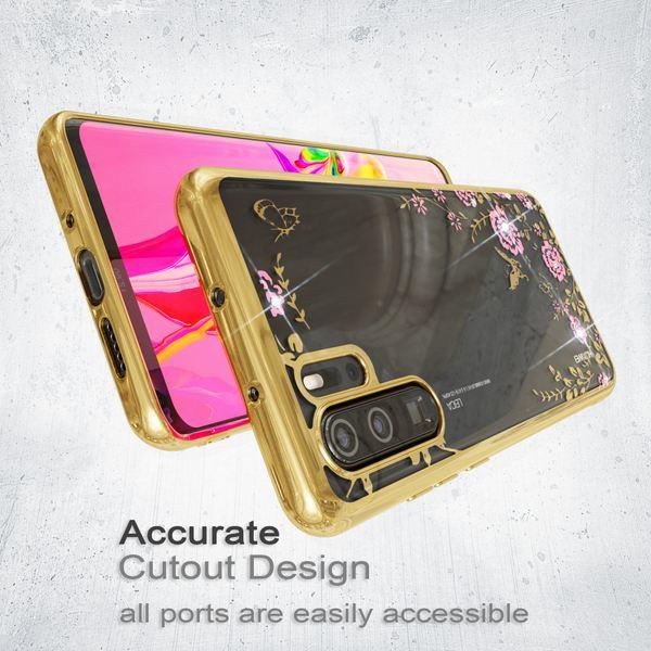 NALIA Hülle kompatibel mit Huawei P30 Pro, Durchsichtige Handyhülle Blumen-Muster Metall-Optik Glitzer-Steine, Ultra-Slim Silikon Case Dünne Schutzhülle Smart-Phone Bling Cover Handy-Tasche - Gold – Bild 5