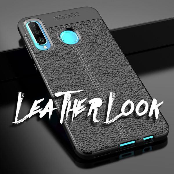 NALIA Leder-Look Hülle kompatibel mit Huawei P30 Lite, Ultra-Slim Silikon Handyhülle Case Cover Dünn, Stoßfeste Schutzhülle Etui Handy-Tasche Skin Backcover Bumper Smart-Phone Gummihülle - Schwarz – Bild 5