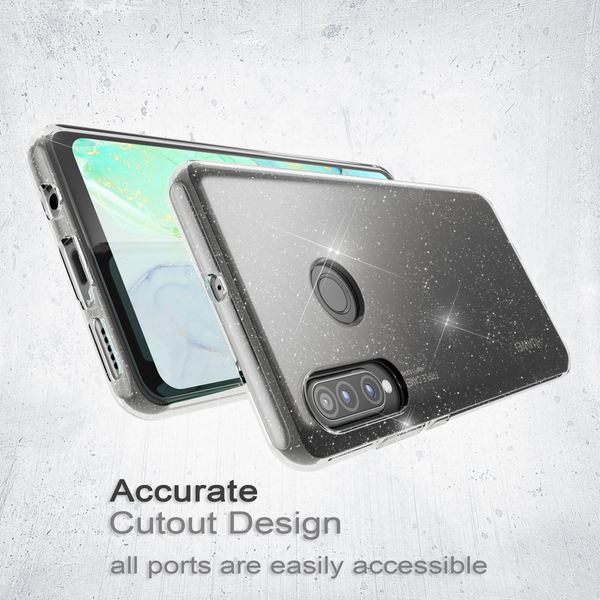 NALIA Glitter Hülle kompatibel mit Huawei P30 Lite, Glitzer Handyhülle Ultra-Slim Silikon Case Cover Schutzhülle, Bling Handy-Tasche Bumper, Dünnes Strass Smart-Phone Backcover - Transparent – Bild 3
