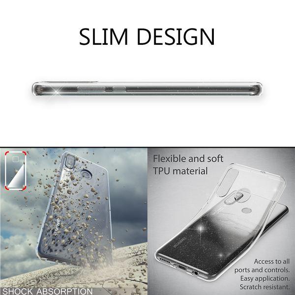 NALIA Glitter Hülle kompatibel mit Huawei P30 Lite, Glitzer Handyhülle Ultra-Slim Silikon Case Cover Schutzhülle, Bling Handy-Tasche Bumper, Dünnes Strass Smart-Phone Backcover - Transparent – Bild 5