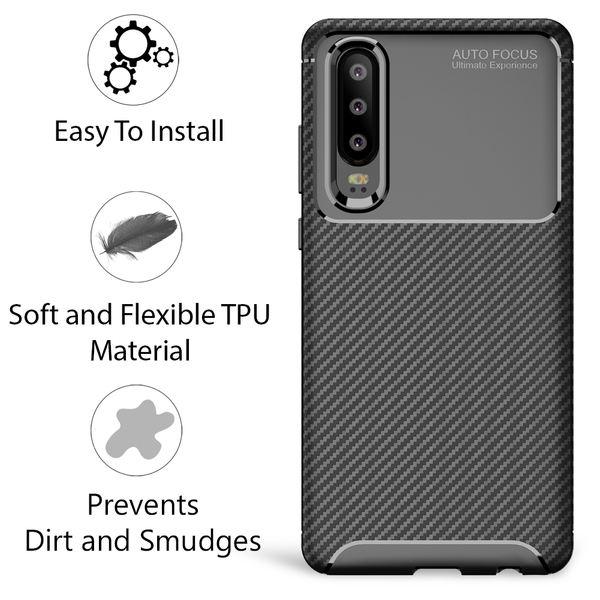 NALIA Hülle kompatibel mit Huawei P30, Carbon Look Ultra-Slim Handyhülle Silikon Case Cover, Dünne Schutzhülle Skin Gel Etui Handy-Tasche Soft Backcover Thin-Fit Smart-Phone Schutz Bumper – Schwarz – Bild 6