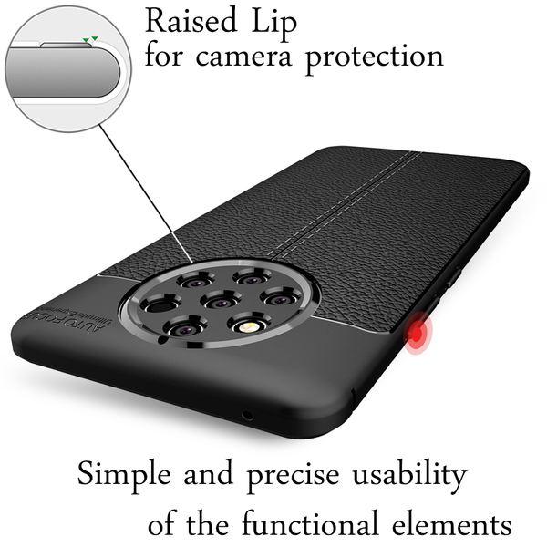 NALIA Leder-Look Hülle kompatibel mit Nokia 9 PureView, Ultra-Slim Handyhülle Silikon Case Cover, Dünne Strukturiert Phone Schutzhülle, Stoßfeste Etui Handy-Tasche Backcover Bumper - Schwarz – Bild 2