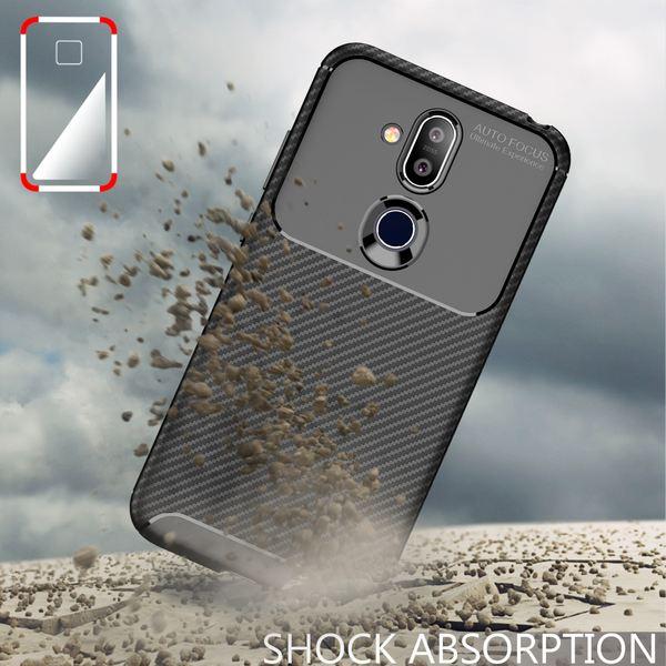 NALIA Hülle kompatibel mit Nokia 8.1, Carbon Look Ultra-Slim Handyhülle Silikon Case Cover, Dünne Schutzhülle Skin Gel Etui Handy-Tasche Soft Backcover Thin-Fit Smart-Phone Schutz Bumper – Schwarz – Bild 7