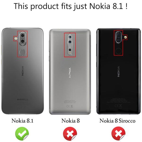 NALIA Hülle kompatibel mit Nokia 8.1, Carbon Look Ultra-Slim Handyhülle Silikon Case Cover, Dünne Schutzhülle Skin Gel Etui Handy-Tasche Soft Backcover Thin-Fit Smart-Phone Schutz Bumper – Schwarz – Bild 4