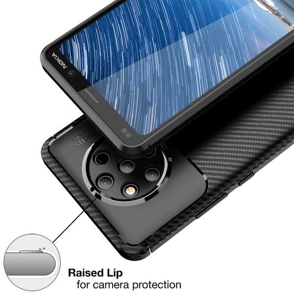 NALIA Hülle kompatibel mit Nokia 9, Carbon Look Ultra-Slim Handyhülle Silikon Case Cover, Dünne Schutzhülle Skin Gel Etui Handy-Tasche Soft Backcover Thin-Fit Smart-Phone Schutz Bumper – Schwarz – Bild 3