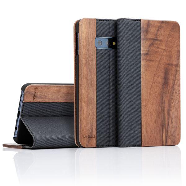NALIA Echt-Holz Klapphülle kompatibel mit Samsung Galaxy S10e, Handmade Phone Case Handyhülle Natur-Holz Hülle Handy-Tasche Etui Flipcase, Dünnes Kunst-leder Wood Book Cover Bumper – Bild 9