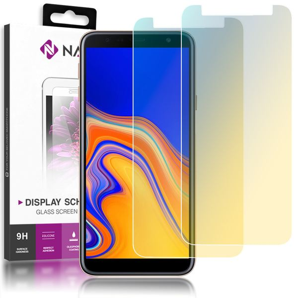 NALIA (2-Pack) Schutzglas kompatibel mit Samsung Galaxy J4 Plus, 9H Full-Cover Display Schutz Glas-Folie, Dünne Handy Schutzfolie Bildschirm-Abdeckung, Screen Protector Tempered Glass - Transparent – Bild 1