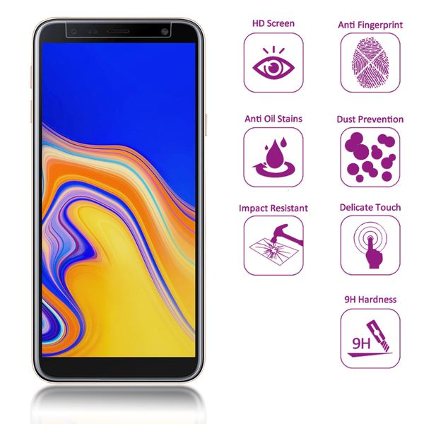 NALIA (2-Pack) Schutzglas kompatibel mit Samsung Galaxy J4 Plus, 9H Full-Cover Display Schutz Glas-Folie, Dünne Handy Schutzfolie Bildschirm-Abdeckung, Screen Protector Tempered Glass - Transparent – Bild 2