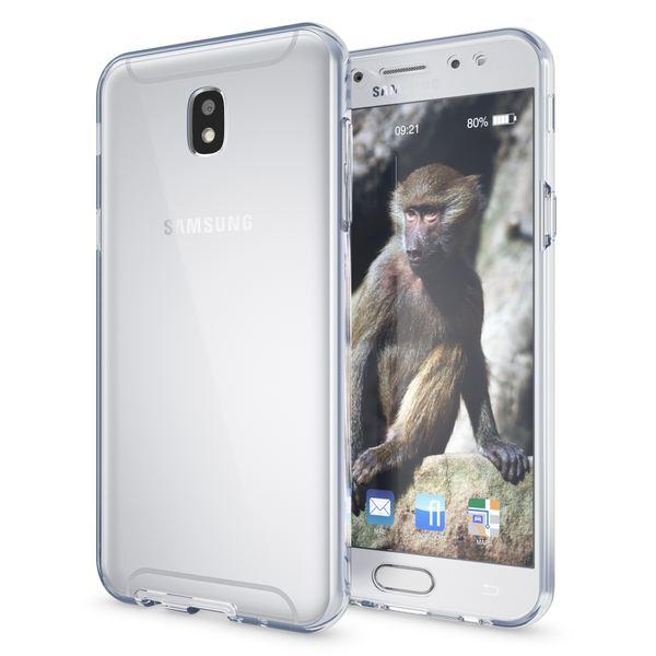 NALIA 360 Grad Hülle kompatibel mit Samsung Galaxy J7 2017, Full Cover vorne hinten Rundum Doppel-Schutz Handyhülle Dünn Ganzkörper Case Silikon Durchsichtig Displayschutz Rückseite - Transparent – Bild 3