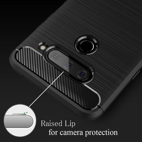 NALIA Hülle kompatibel mit LG V40 ThinQ, Carbon Look Handyhülle Ultra-Slim Silikon Case Backcover, Dünne Phone Schutzhülle Stoßfeste Handy-Tasche Etui Bumper TPU Gummi Cover Kappe - Schwarz – Bild 5