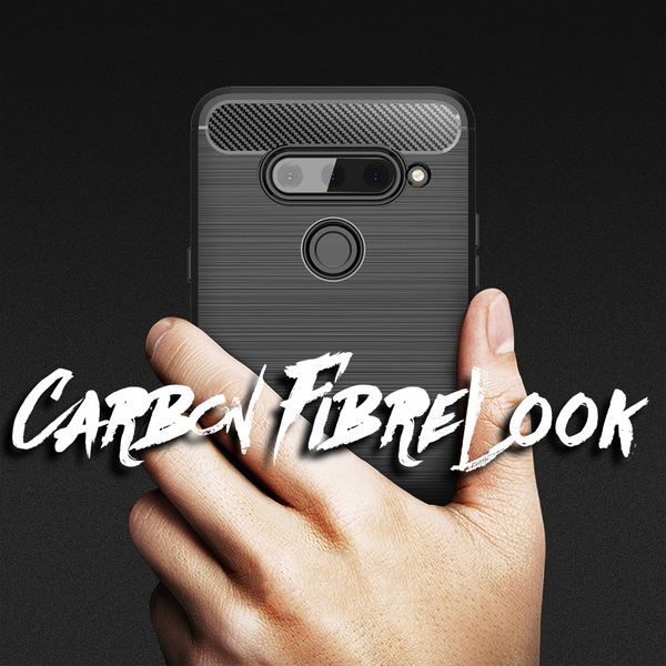 NALIA Hülle kompatibel mit LG V40 ThinQ, Carbon Look Handyhülle Ultra-Slim Silikon Case Backcover, Dünne Phone Schutzhülle Stoßfeste Handy-Tasche Etui Bumper TPU Gummi Cover Kappe - Schwarz – Bild 6