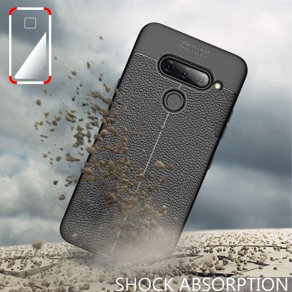 NALIA Leder-Look Hülle kompatibel mit LG V40 ThinQ, Ultra-Slim Handyhülle TPU Silikon Case Cover, Dünne Phone Schutzhülle, Stoßfeste Etui Soft-Case Handy-Tasche Backcover Smartphone Bumper - Schwarz – Bild 5