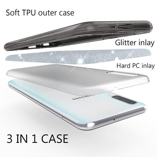NALIA Glitzer Hülle kompatibel mit Samsung Galaxy A70, Diamant Schutzhülle Glitter Case Bling Cover Silikon Handyhülle Dünn, Ultra-Slim Phone Backcover Handy-Tasche Diamond Bumper Etui – Bild 3