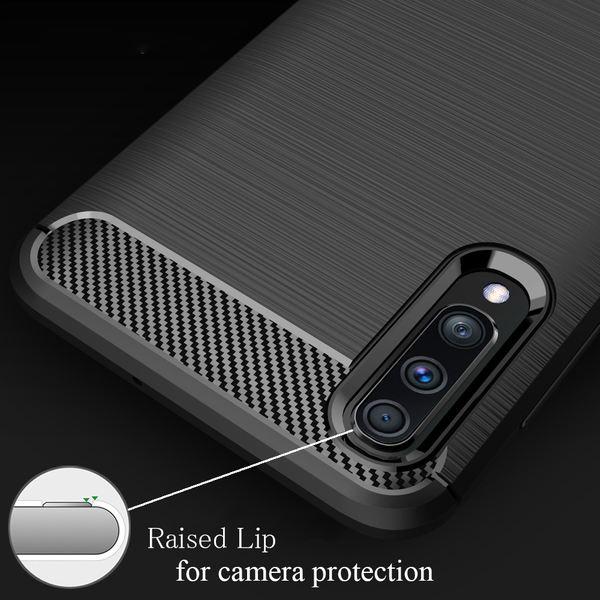 NALIA Hülle kompatibel mit Samsung Galaxy A50, Carbon Look Handyhülle Ultra-Slim Silikon Case Backcover Dünn, Phone Schutzhülle Stoßfeste Handy-Tasche Bumper TPU Gummi Cover Skin Kappe - Schwarz – Bild 5