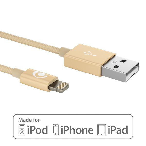 NALIA 1m USB Ladekabel, Nylon Sync Daten-Kabel MFI-Zertifiziert Aufladekabel Phone Charger Cable für iPhone X XS-Max XR/ 8 7 & Plus /6 6s 6-Plus /5 5SE /iPad - Gold – Bild 2