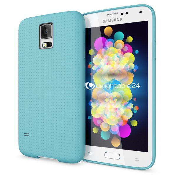 NALIA Handyhülle kompatibel mit Samsung Galaxy S5 S5 Neo, Hülle Ultra-Slim Case Cover Dünne Punkte Schutzhülle, Etui Handy-Tasche Schale Back-Cover Bumper, TPU Smart-Phone Silikon-Hülle - Mesh Türkis – Bild 1