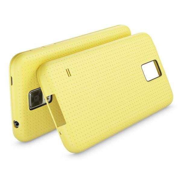 NALIA Handyhülle kompatibel mit Samsung Galaxy S5 S5 Neo, Hülle Ultra-Slim Case Cover Dünne Punkte Schutzhülle, Etui Handy-Tasche Schale Back-Cover Bumper, TPU Smart-Phone Silikon-Hülle - Mesh Gelb – Bild 2
