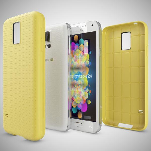 NALIA Handyhülle kompatibel mit Samsung Galaxy S5 S5 Neo, Hülle Ultra-Slim Case Cover Dünne Punkte Schutzhülle, Etui Handy-Tasche Schale Back-Cover Bumper, TPU Smart-Phone Silikon-Hülle - Mesh Gelb – Bild 3