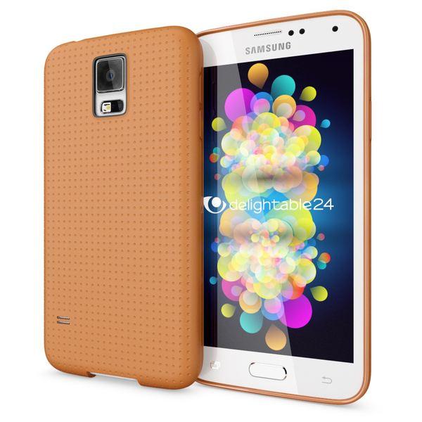 NALIA Handyhülle kompatibel mit Samsung Galaxy S5 S5 Neo, Hülle Ultra-Slim Case Cover Dünne Punkte Schutzhülle, Etui Handy-Tasche Schale Back-Cover Bumper, TPU Smart-Phone Silikon-Hülle - Mesh Orange – Bild 1