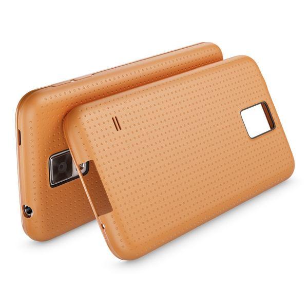 NALIA Handyhülle kompatibel mit Samsung Galaxy S5 S5 Neo, Hülle Ultra-Slim Case Cover Dünne Punkte Schutzhülle, Etui Handy-Tasche Schale Back-Cover Bumper, TPU Smart-Phone Silikon-Hülle - Mesh Orange – Bild 2