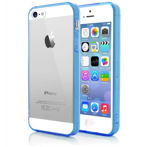 NALIA Handyhülle kompatibel mit iPhone SE 5 5S, Durchsichtiges Slim Silikon Case mit Transparenter Rückseite & Bumper, Crystal Schutz-Hülle Etui Dünn, Handy-Tasche Back-Cover - Transparent / Blau – Bild 3