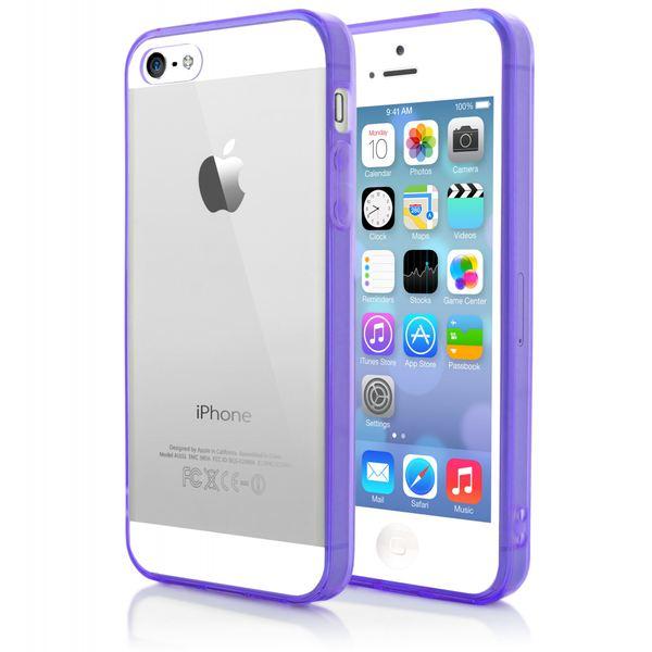 NALIA Handyhülle für Apple iPhone SE 5 5S, Durchsichtiges Slim Silikon Case mit Transparenter Rückseite & Bumper, Crystal Schutzhülle Etui Dünn, Handy-Tasche Back-Cover - Transparent / Lila – Bild 3