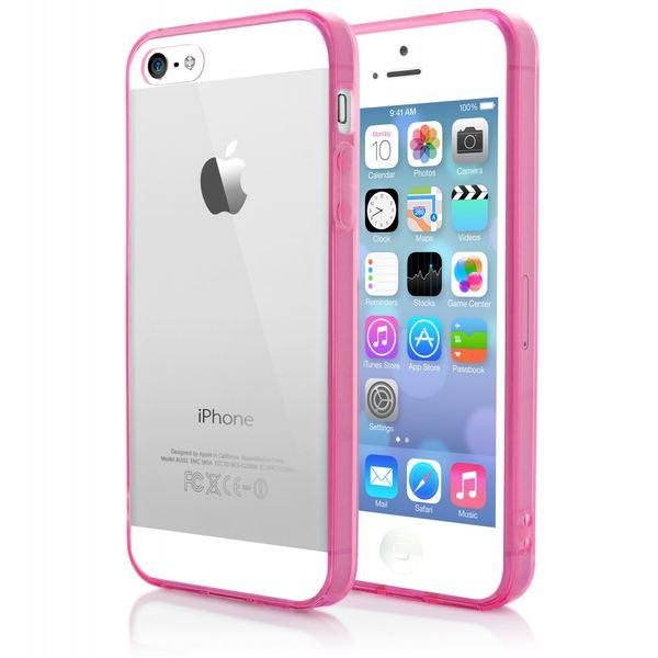NALIA Handyhülle kompatibel mit iPhone SE 5 5S, Durchsichtiges Slim Silikon Case mit Transparenter Rückseite & Bumper, Crystal Schutz-Hülle Etui Dünn, Handy-Tasche Back-Cover - Transparent / Pink – Bild 3