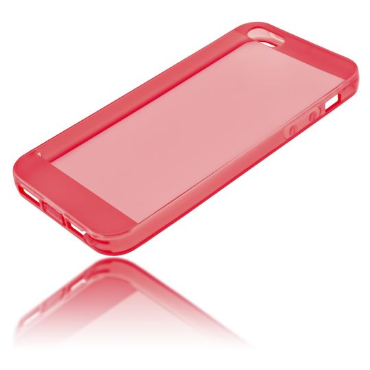iPhone 5 5S SE Hülle Handyhülle von NICA, Ultra-Slim Silikon Case Cover Schutzhülle Dünn Durchsichtig, Handy-Tasche Backcover Transparent Bumper für Apple iPhone SE 5S 5 - Rot Transparent – Bild 2