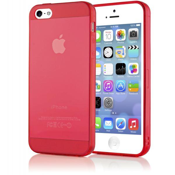 NALIA Handyhülle kompatibel mit iPhone 5 5S SE, Ultra-Slim Silikon Case Cover Schutzhülle Dünn Durchsichtig, Handy-Tasche Telefon-Schale Skin Back-Cover Etui Smart-Phone Bumper - Rot Transparent – Bild 1