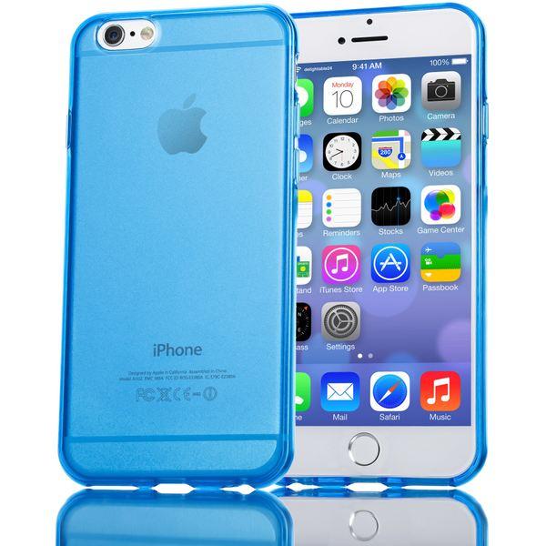 NALIA Handyhülle kompatibel mit iPhone 6 6S, Ultra-Slim Silikon Case Crystal Schutz-Hülle Dünn Durchsichtig, Handy-Tasche Telefon-Schale Back-Cover Skin Thin-Fit Smart-Phone Bumper - Blau Transparent – Bild 1