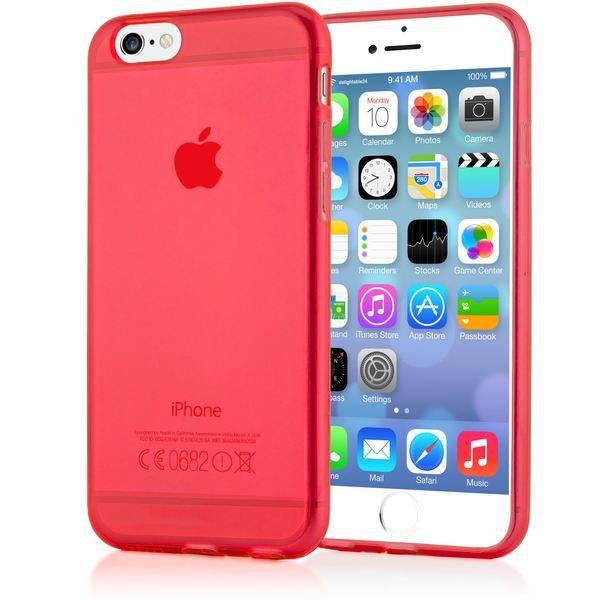 NALIA Handyhülle kompatibel mit iPhone 6 6S, Ultra-Slim Silikon Case Crystal Schutz-Hülle Dünn Durchsichtig, Handy-Tasche Etui Telefon-Schale Back-Cover Thin-Fit Smart-Phone Bumper - Rot Transparent – Bild 1