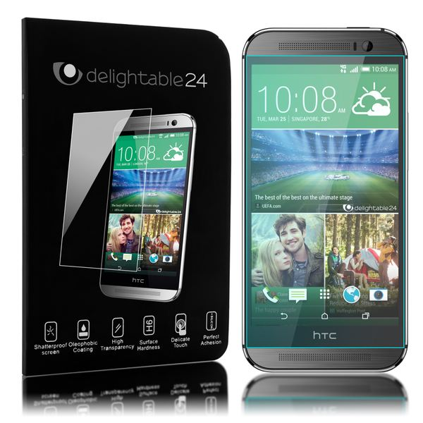 NALIA Schutzglas kompatibel mit HTC One M8, Full-Cover Displayschutz Handy-Folie, 9H Härte Glas-Schutzfolie Bildschirm-Abdeckung, Schutz-Film Phone HD Screen Protector Tempered Glass - Transparent – Bild 1