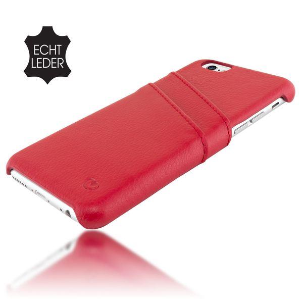 NALIA Klapphülle iPhone 6 6S Echt-Leder, stoßfeste Schutzhülle Case Cover mit Kartenfächern, Dünnes Hardcase Handy-Tasche, Slim Backcover Etui Bumper für Apple i-Phone 6S 6 - Rot – Bild 3