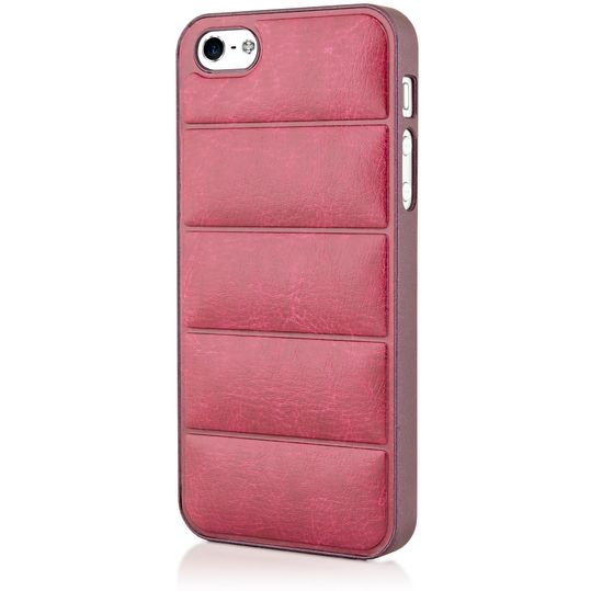 iPhone 5 5S SE Kunstleder Hülle Handyhülle von NICA, stoßfeste Schutzhülle Dünnes Hard-Case Handy-Tasche, Slim Back-Cover Phone Etui Matt Bumper für Apple i-Phone SE 5 5S Smartphone - Rot / Weinrot