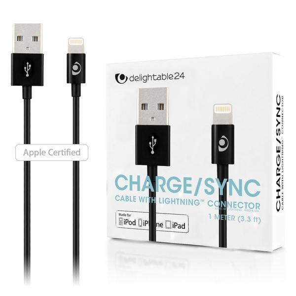 NALIA 1m USB Ladekabel, Stabiles Sync Daten-Kabel MFI-Zertifiziert Aufladekabel Smartphone Charger Cable für i-Phone X XS-Max XR/ 8 7 & Plus / 6 6s/ 5 c 5SE - Schwarz – Bild 1