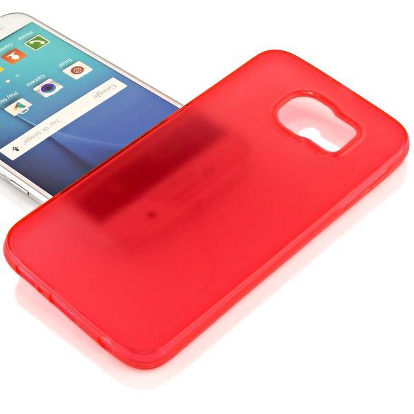 NALIA Handyhülle kompatibel mit Samsung Galaxy S6, Ultra-Slim Silikon Case Hülle Cover Crystal Schutzhülle Dünn Durchsichtig, Etui Handy-Tasche Schale Back-Cover Smart-Phone Bumper - Rot Transparent – Bild 2