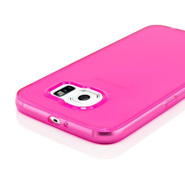 NALIA Handyhülle kompatibel mit Samsung Galaxy S6, Ultra-Slim Silikon Case Hülle Cover Crystal Schutzhülle Dünn Durchsichtig, Etui Handy-Tasche Schale Back-Cover Smart-Phone Bumper - Pink Transparent – Bild 3