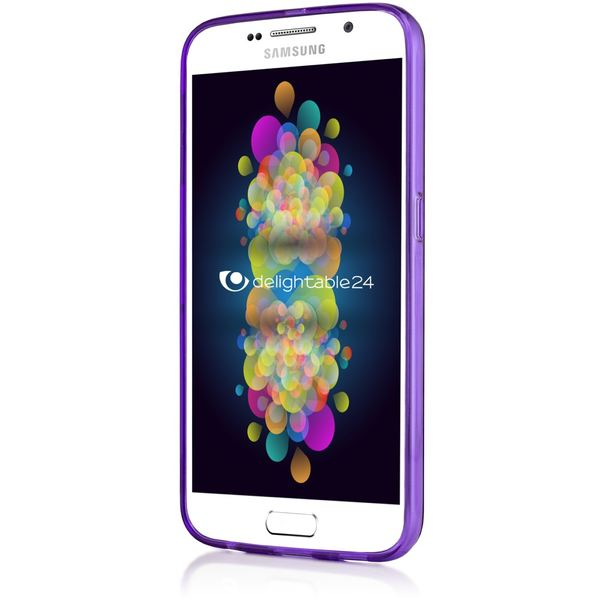 NALIA Handyhülle kompatibel mit Samsung Galaxy S6, Ultra-Slim Silikon Case Hülle Cover Crystal Schutzhülle Dünn Durchsichtig, Etui Handy-Tasche Schale Back-Cover Smart-Phone Bumper - Lila Transparent – Bild 6