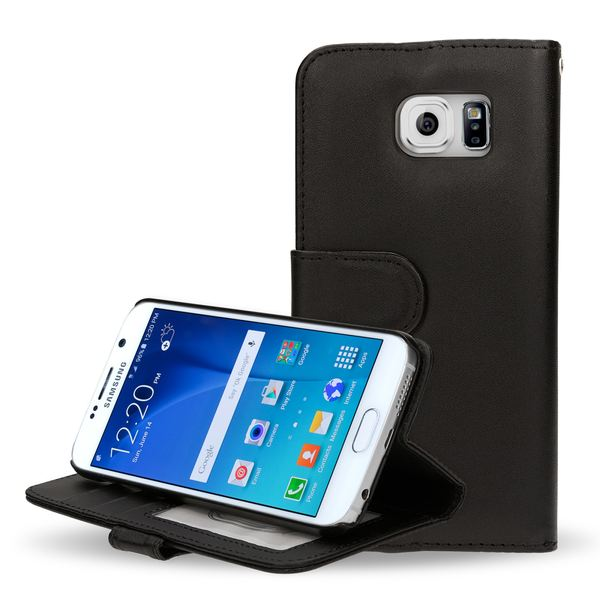 NALIA Klapphülle kompatibel mit Samsung Galaxy S6, Slim Flip-Case Kunst-Leder Vegan, Thin Etui Schutzhülle Book-Case Dünn Vorne Hinten Handy-Tasche Telefon-Schale Wallet Smart-Phone Bumper - Schwarz – Bild 1