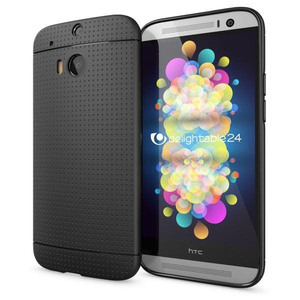NALIA Handyhülle kompatibel mit HTC One M8 M8S, Ultra-Slim Case Cover, Dünne Punkte Schutzhülle, Etui Handy-Tasche Back-Cover Bumper, TPU Silikon-Hülle Smart-Phone - Mesh Schwarz – Bild 1