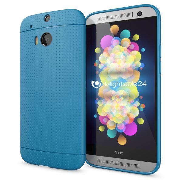 NALIA Handyhülle kompatibel mit HTC One M8 M8S, Ultra-Slim Case Cover, Dünne Punkte Schutzhülle, Etui Handy-Tasche Back-Cover Bumper, TPU Silikon-Hülle Smart-Phone - Mesh Blau – Bild 1