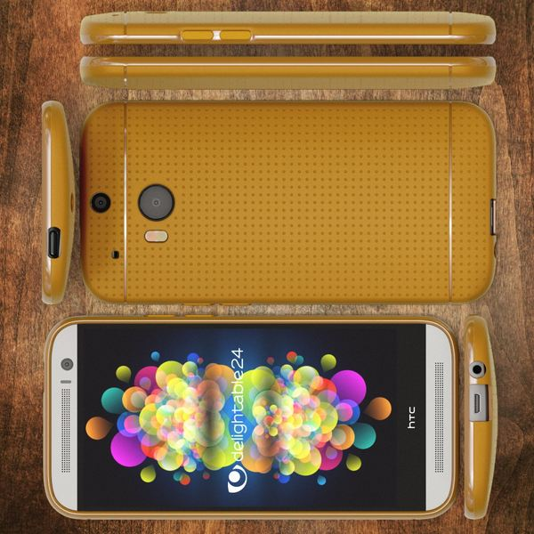 NALIA Handyhülle für HTC One M8 M8S, Ultra-Slim Case Cover, Dünne Punkte Schutzhülle, Etui Handy-Tasche Back-Cover Bumper, TPU Silikon-Hülle für HTC One M8S M8 Smart-Phone - Mesh Champagner Gold – Bild 6