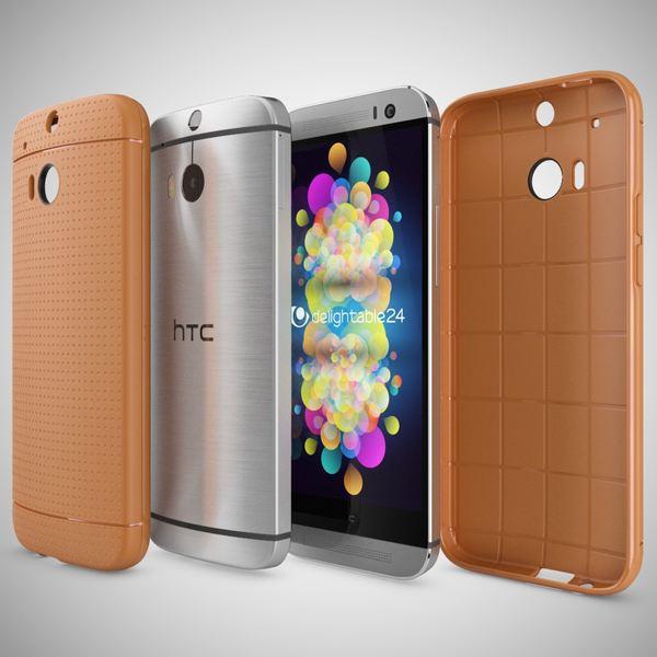 NALIA Handyhülle für HTC One M8 M8S, Ultra-Slim Case Cover, Dünne Punkte Schutzhülle, Etui Handy-Tasche Back-Cover Bumper, TPU Silikon-Hülle für HTC One M8S M8 Smart-Phone - Mesh Orange – Bild 4