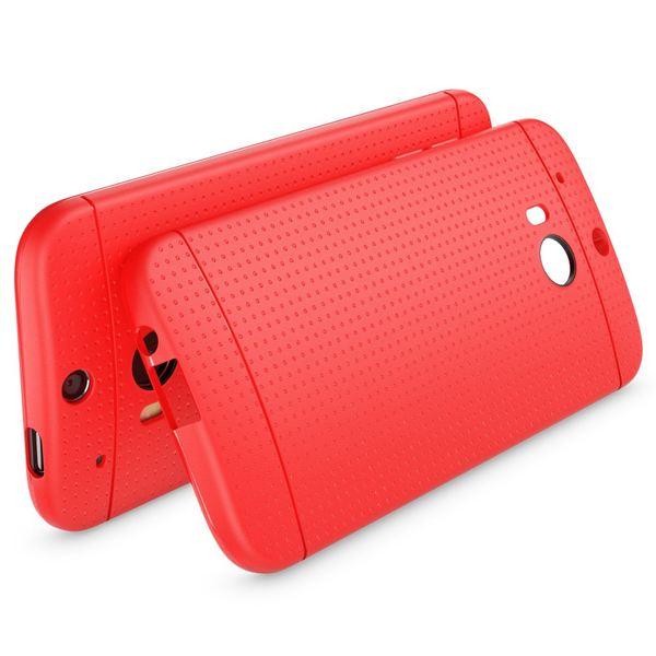 NALIA Handyhülle kompatibel mit HTC One M8 M8S, Ultra-Slim Case Cover, Dünne Punkte Schutzhülle, Etui Handy-Tasche Back-Cover Bumper, TPU Silikon-Hülle Smart-Phone - Mesh Rot – Bild 2
