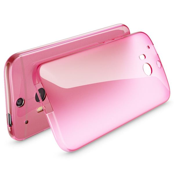 NALIA Handyhülle kompatibel mit HTC One M8 M8S, Ultra-Slim Silikon Case Cover, Dünne Crystal Schutzhülle, Etui Handy-Tasche Back-Cover Bumper, TPU Phone Gummihülle - Transparent / Pink – Bild 2